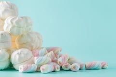 Colorful marshmallow hill on aquamarine background Stock Photography