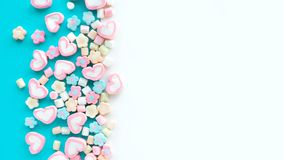 Colorful marshmallow.Party and celebration.decorative background texture.Flat lay. Design stock images