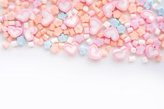 Colorful marshmallow.Party and celebration.decorative background texture.Flat lay stock photo