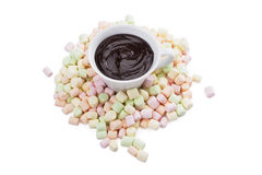 Colorful marshmallows. Calories candy chocolate Royalty Free Stock Images