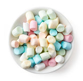 Colorful Marshmallows In White Bowl Isolated On White Royalty Free Stock Images