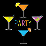 Colorful martini set on black background. Cocktail. Party card. Vector illustration Stock Photo