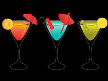 Colorful martinis with umbrellas Royalty Free Stock Image