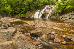 Colorful Mary Ann Falls. Mary Ann Falls and swimming hole in Cape Breton Highlands National Park, Nova Scotia Stock Photography