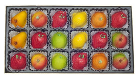 Colorful Marzipan in Fruit Shapes Stock Images