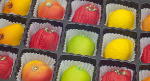 Colorful Marzipan in Fruit Shapes Royalty Free Stock Photos
