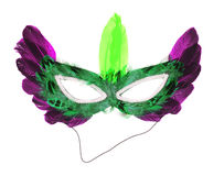 Colorful mask with feathers isolated on white. Background stock photo