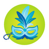 Colorful Mask Icon Brazil Carnival Rio Holiday Party Celebration. Flat Vector Illustration Royalty Free Stock Photos