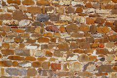 Colorful masonry wall stone construction. House in Pyrenees Royalty Free Stock Images