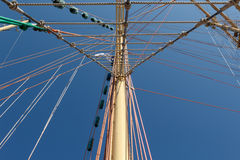 Colorful mast and rigging of an old sailboat Royalty Free Stock Photography