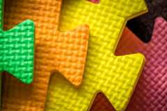 Colorful mat pieces close up Stock Images