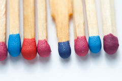 Colorful matches closeup Royalty Free Stock Images