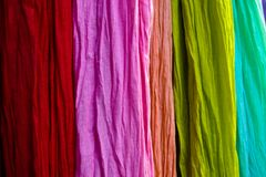 Colorful material at a Paris market Royalty Free Stock Photography