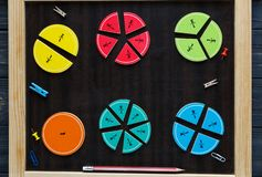 Colorful math fractions and apples as a sample on brown wooden background or table. interesting math for kids. Education stock photos