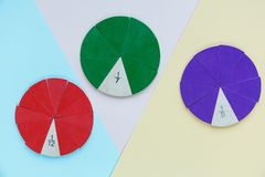 Colorful math fractions on bright colorful background or table. interesting math for kids. Education, back to school concept. Geometry and mathematics stock photography