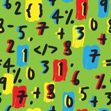 Mathematical Numbers Hand Drawn Seamless Pattern on Green stock illustration