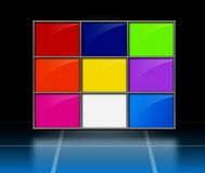 Colorful matrix. A three-dimensional grid or matrix of colorful rectangles on a reflective black background Royalty Free Stock Photo