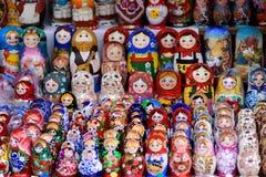 Colorful Matryoshka dolls at the market. Colorful Matryoshka dolls in a street market in Moscow stock photos