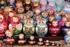 Colorful Matryoshka dolls at the market. Colorful Matryoshka dolls in a street market in Moscow, Russia royalty free stock photo