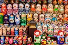 Colorful Matryoshka dolls at the market. Colorful Matryoshka dolls in a strret market in Moscow, Russia stock photography