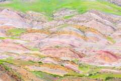 Colorful mauntain stone mineral landscape around David Gareja monastery in Georgia. Stock Images