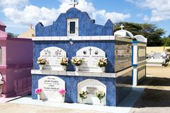 Colorful Mausulea on cemetery of Aruba Royalty Free Stock Photos