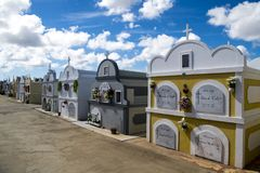 Colorful Mausulea on cemetery of Aruba royalty free stock image