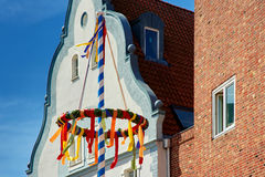 Colorful may pole. In town Stock Image
