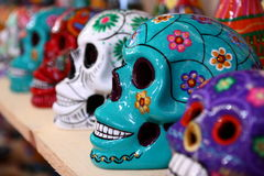 Colorful Mayan ceramic skulls Stock Photos