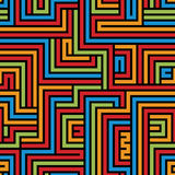 Colorful maze seamless pattern, geometric simple vector backgrou Royalty Free Stock Photography