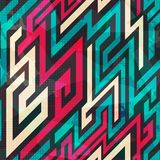 Colorful Maze Seamless Pattern With Grunge Effect Royalty Free Stock Images