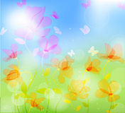 Colorful meadow with butterfly Stock Photography