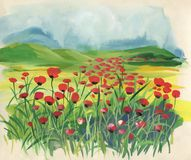Colorful meadow with red tulips at spring time. Colorful meadow with watercolor red tulips at spring time Stock Photos