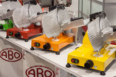 Colorful meat slicers at Host 2013 in Milan, Italy Royalty Free Stock Photography