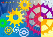 Colorful mechanical background. Colorful gears engineering technology, mechanical background, full scalable  graphic included Eps v8 and 300 dpi JPG Stock Photo