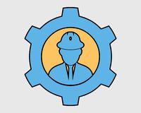 Colorful Mechanical Service Icon. Male Symbol with Gear Sign vector illustration