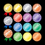 Colorful medal set Royalty Free Stock Image