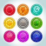 Colorful medallions with nature elements icons. Colorful cartoon medallions with nature elements icons set, vector assets for game design Royalty Free Stock Image