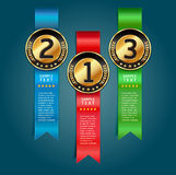 Colorful Medals with Ribbon Style Number. Stock Photo