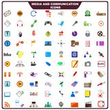 Colorful Media and Communication Icon. Vector illustration of set of media and communication icon Stock Photos