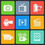 Colorful media icons for web and mobile. Vector Royalty Free Stock Photo