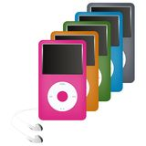 Colorful media players Stock Photo