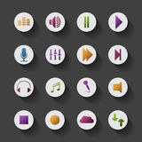 Colorful Media Related Icon Set Design. Circular Icon Set with Shadows - Colorful Design Clipart for Media Content, Freely Scalable and Editable Vector Format stock illustration