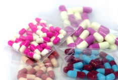 Colorful medical capsule pills Stock Images