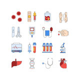 Colorful medical icon set made in line style. Vector blood and heart tests pictorgam. Royalty Free Stock Photography