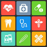 Colorful medical icons for web and mobile. Vector Royalty Free Stock Images