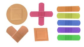 Colorful medical patches isolated on white Stock Image