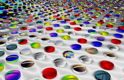 Colorful medicinal tablets. Colorful rows of medicinal tablets receding into background Stock Photo
