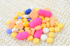 Colorful medicine capsule pill Royalty Free Stock Photos
