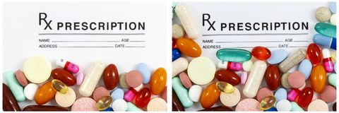 Prescription pad mixed supplements pills. Colorful medicine medical pill tablet mixed rx prescription pad tablet paper with white text cutout space  collage Stock Images